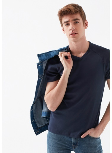Mavi V Yaka  Basic Tişört Lacivert